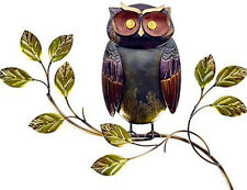 OWL ON A TREE BRANCH BROWN GREEN METAL WALL ART PICTURE  next day despatch