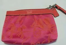 EUC Coach PINK Mango Coral PLEATED Small Jacquard WRISTLET PURSE wallet with Box
