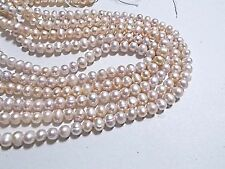 75pcs 5mm - 6mm FRESHWATER PEARL Beads LIGHT PEACH Potato Oval Round ( 1 strand)