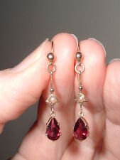 Antique Victorian 9ct Gold Garnet Seed Pearl Drop Earrings