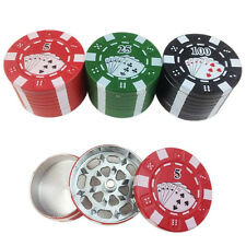 1Pc Poker Pattern 3 Layers Metal Hand Muller Herbal Herb Tobacco Grinder