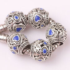 Fashion 10P silver love lampwork spacer beads fit Charm European Bracelet #Z143