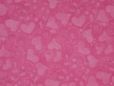 "Hot Pink cotton fabric Valentine material Heart Swirls 1Y22""x45"""
