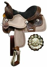 """Double T youth saddle with floral tooled pommel, cantle, and skirt. 12"""""""