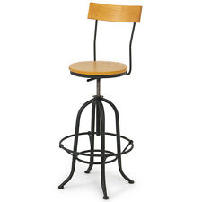 Swivel Chair Stool Modern Bar Wood Adjustable Seat Vintage Barstool w/ Back NEW