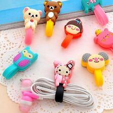 6X Cartoon Earphone Winder Cable Cord Desk Organizer Holder Phone Cable Holder