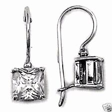 USA Seller Square Cut CZ French Hook Earrings Sterling Silver 925 Best Jewelry