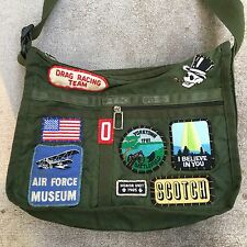 VTG Le SportSac Army Green Messenger Bag Custom Patches Water Resistant Olive