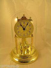 """Vintage Elgin American Clock With Glass Dome 9 """" H Pendulum Mantel tested AA Bat"""