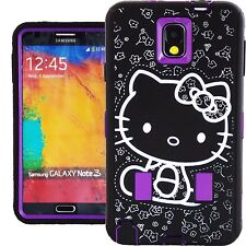 Purple Black Hello Kitty Hybrid Case for Samsung Galaxy Note 3 Shockproof Cover