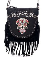 Sugar Skull~Day of the Dead~Western Fringed Crossbody Bag Purse~Gothic~Punk~BLK