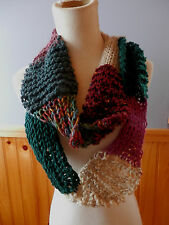 RUSTY ROSE MIX IT UP STITCHES & COLORS WOOL BLEND HANDKNIT CIRCLE WRAP SCARF...