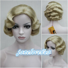 Ladies Vintage Short Curly Wavy Blonde brown mix Natural Hair Wigs + Wig Cap