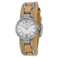 BRAND NEW FOSSIL ES3854 GEORGIA ARTISAN BEIGE SADDLE LEATHER STRAP WOMEN'S WATCH