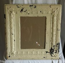 "ANTIQUE Ceiling Tin Picture Frame 11""x 14""*See Our Videos* Original Cream A3"