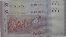 RM100 Zeti sign Latest Series Replacement Note 2 pcs R/N ZB 3193701 - 702