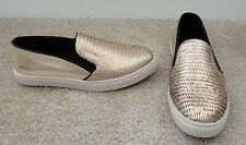 STEVE MADDEN Womens Gold Leather Ecentrcg Slip-On Sneaker 7B EXCELLENT Cond!