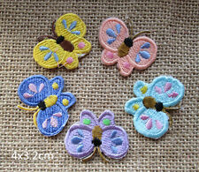 Wholesale lot 30pcs Butterfly  embroidered   Applique Iron On Patch   4x3.2cm