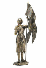 Joan of Arc Sculpture Standing with Sword and Flag Statue Figurine