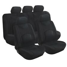 9pcs NEW Auto Seat Cover Black  Low Back Fabric Mesh W/ zipper bench Front/Rear