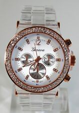 Clear Rose Gold Geneva Acrylic Crystal Women Bracelet Fashion Watch