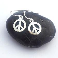 ARGENTO Sterling Simbolo Pace Goccia Orecchini-Hippie Boho earwires SPEDIZIONE GRATUITA!