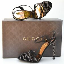 GUCCI New sz 39 - 9 Designer Gold Studded Black Womens Sandals Heels Shoes