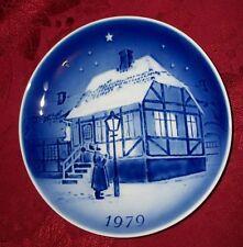 1979 CHRISTMAS Plate Desiree Denmark Copenhagen Blue The Old Street Lamp