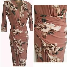 pink floral  dress midi-maxi evening-party wrap front  size  uk 10   eu  38