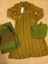 Generation Designer Winter Linen Dress Shawl Green New! Pakistani Kamiz Sz 8