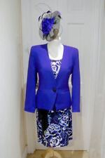 12/14 Jacques Vert Cobalt Blue Black Dress Jacket Fascinator Mother of the Bride