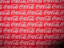COCA COLA COKE WORDS RED COTTON FABRIC FQ