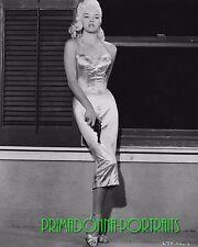 DIANA DORS 8X10 Lab Photo '50s Sexy Blonde Bomdshell Slinky Gown w/ Gun Portrait