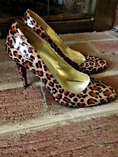 NADARA Stilettos Patent Leather CHEETAH LEOPARD High Heels Pumps SHOES SIZE 5 ❤