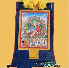 Tibetan Thangka - Printed The Lotus flower & Born Buddha on Silk Brocade Scroll