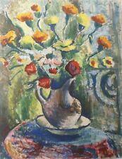 MAN COLLOT-Gd format-Nature morte-Bouquet-Fleurs-Peinture-Gouache-1950-Signée