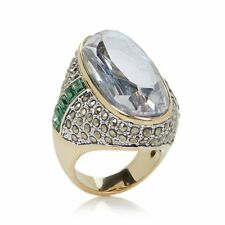 "AKKAD ""THIS EMPRESS ROCKS"" ABALONE DOUBLET MARCASITE CRYSTAL RING SIZE 11 HSN"