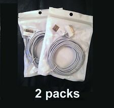 2 PACK Certified 10' long 30 Pin to USB Charger Cable Cord for iPhone iPod iPad