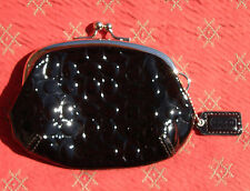 VGUC Coach Signature Embossed Black Patent Leather Kisslock Coin Purse