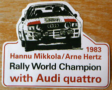 1983 Audi Quattro Hannu Mikkola / Arne Hertz Rally World Champion Sticker /Decal