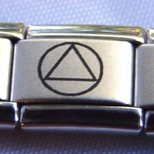 Alcoholics Anonymous AA Symbol Italian Charm Stainless Steel Matte Finish