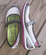 ECCO Shoes 7 7.5 Medium Mary Janes 38 Biom Lite White Silver Hook & Loop Straps