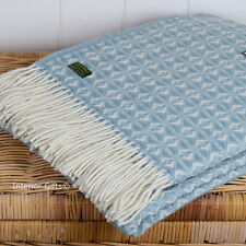 PURE NEW WOOL British COBWEAVE LARGE THROW Blanket DUCK EGG BLUE Cob Weave