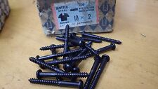 "25 x NETTLEFOLDS GKN 2"" x 10  BLACK JAPANNED ROUND HEAD WOOD SCREWS SLOTTED"