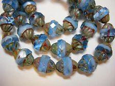 15 12x10mm Czech Glass Faceted Blue and White Blend Picasso Turbine Beads