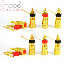 8 x Spring Loaded Gold Plated Speaker Binding Posts Terminals 5 mm Connectors