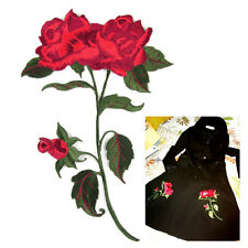 Red Rose Flower Embroidery Iron On Applique Patch Clothing Decoration Badge DIY