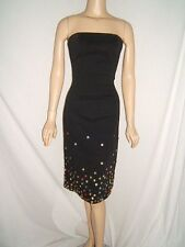 MOSCHINO JEANS Buttons Vintage Black Cotton Strapless Dress Washable 10/12