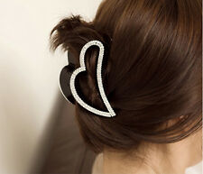 Lady Heart Shape Black Crystal Rhinestone Claw Hair Clip Hairpin Hairwear Clamp