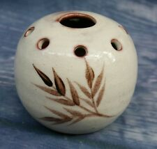 Studio Art Pottery small Posy Vase or Pomander signed S in a vase.  5.25cm high.